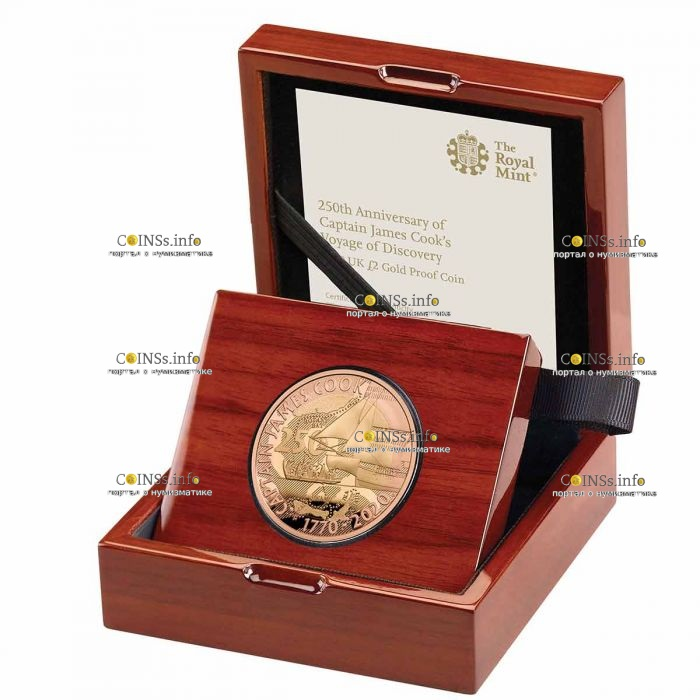 Британия монета 2 фунта 250 лет открытиям капитана Кука, золото, подарочная упаковка