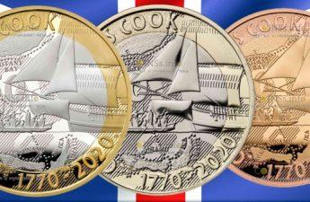 Британия монеты 2 фунта 250 лет открытиям капитана Кука