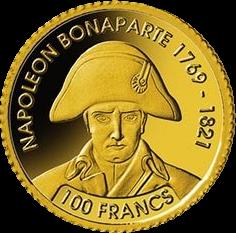 Джибути монета 100 франков Наполеон Бонапарт, реверс