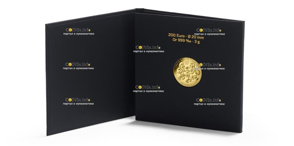 Франция монета 200 евро Смурфики, подарочная упаковка