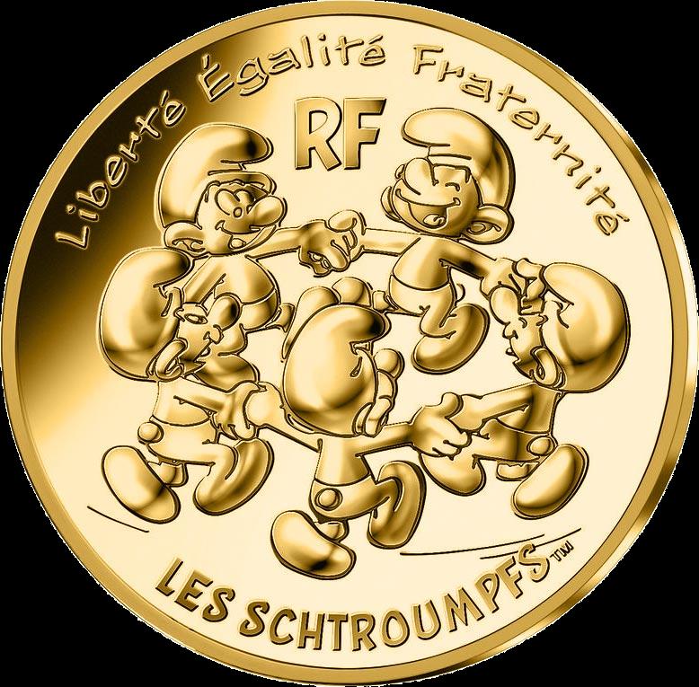 Франция монета 200 евро Смурфики, реверс