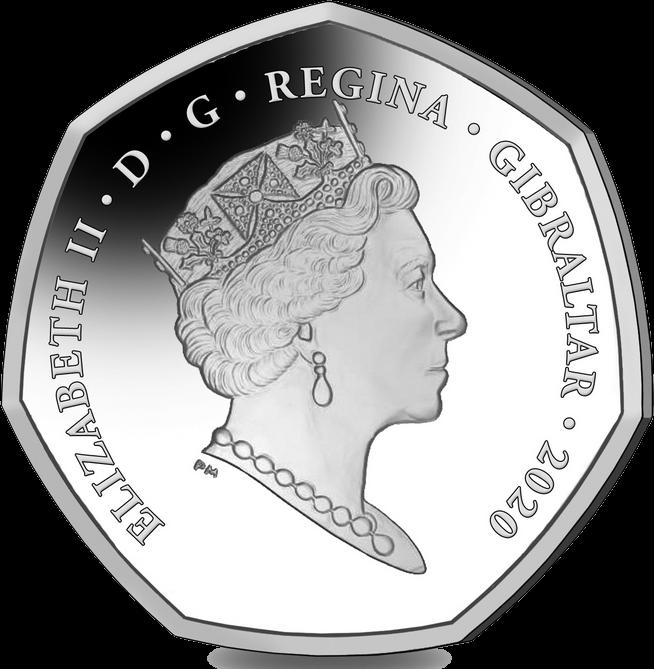 Гибралтар монета 50 пенсов 2020 года, аверс