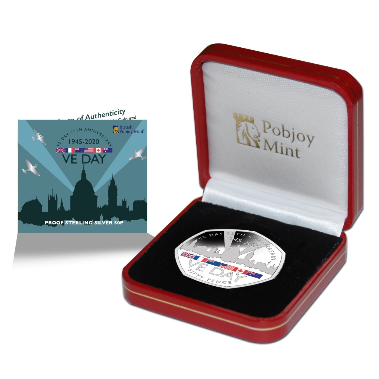 Гибралтар монета 50 пенсов 75-летие Победы, подарочная упаковка