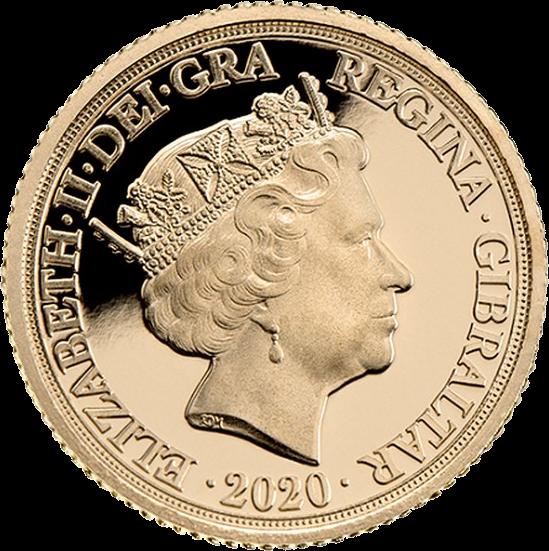 Гибралтар монета четверть соверена Уинстон Черчилль, аверс