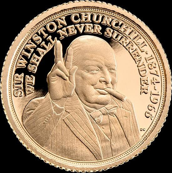 Гибралтар монета четверть соверена Уинстон Черчилль, реверс