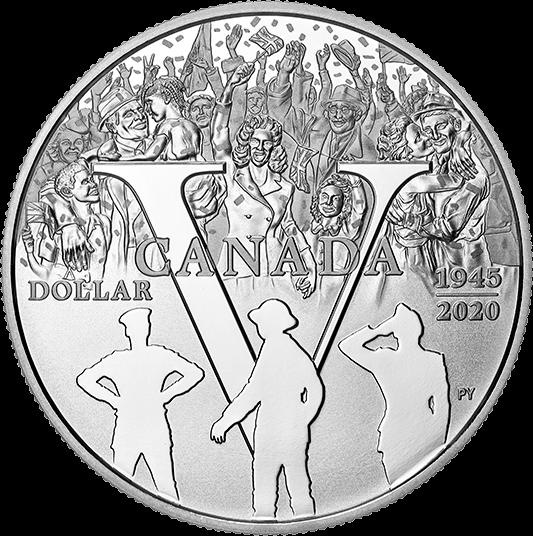 Канада монета 1 доллар 75-летие победы, реверс