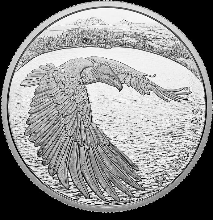 Канада монета 50 долларов Белоголовый орел, реверс