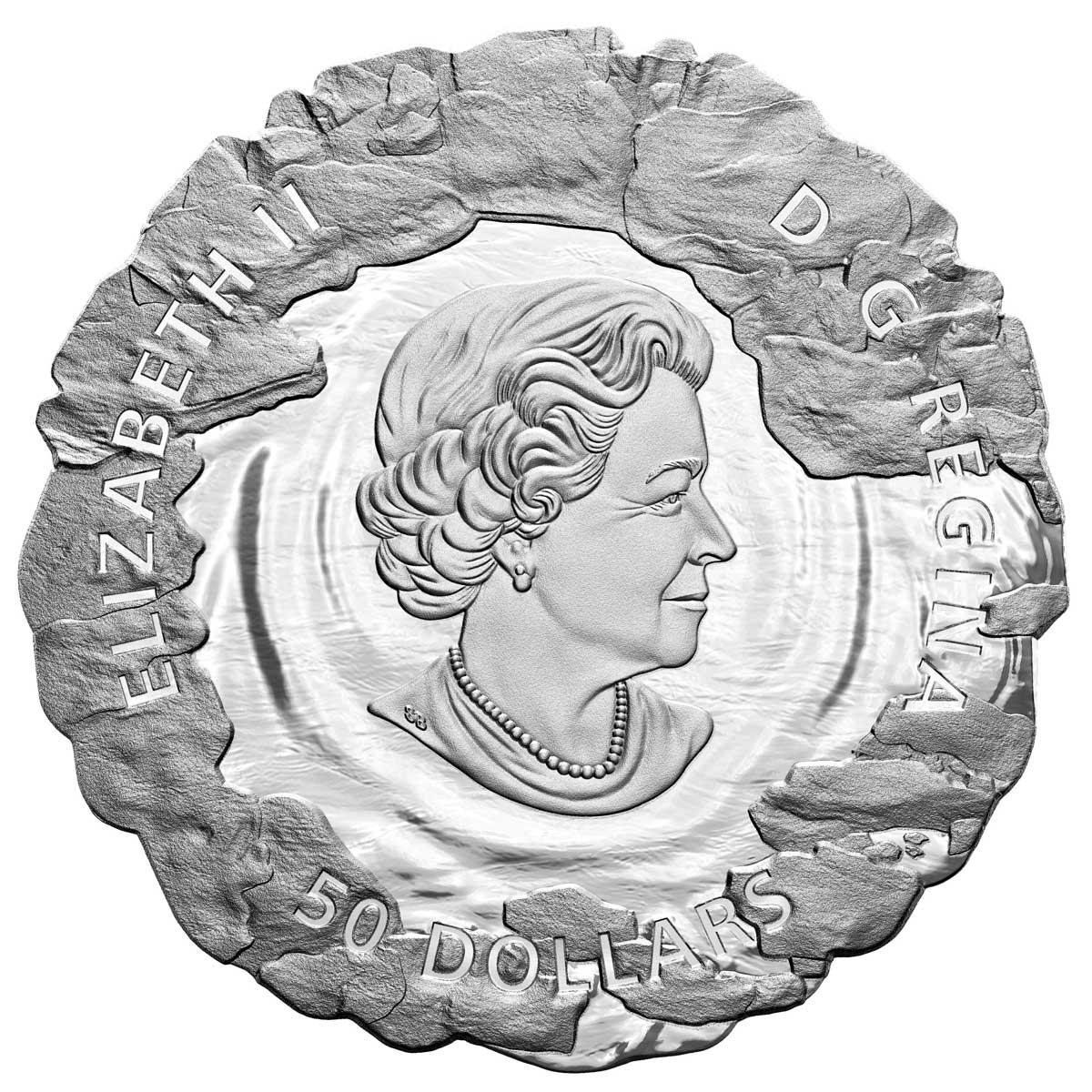 Канада монета 50 долларов Злополучная экспедиция сэра Джона Франклина, аверс