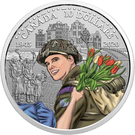 Канада монетау 10 долларов 75-летие освобождения Нидерландов, реверс