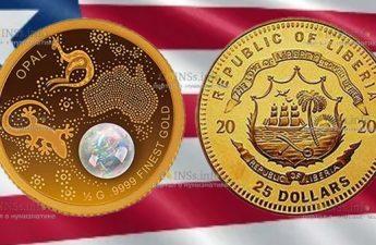 Либерия монета номиналом 25 долларов Австралийский опал