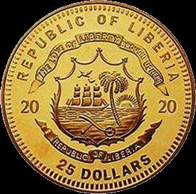 Либерия монета номиналом 25 долларов Австралийский опал, аверс