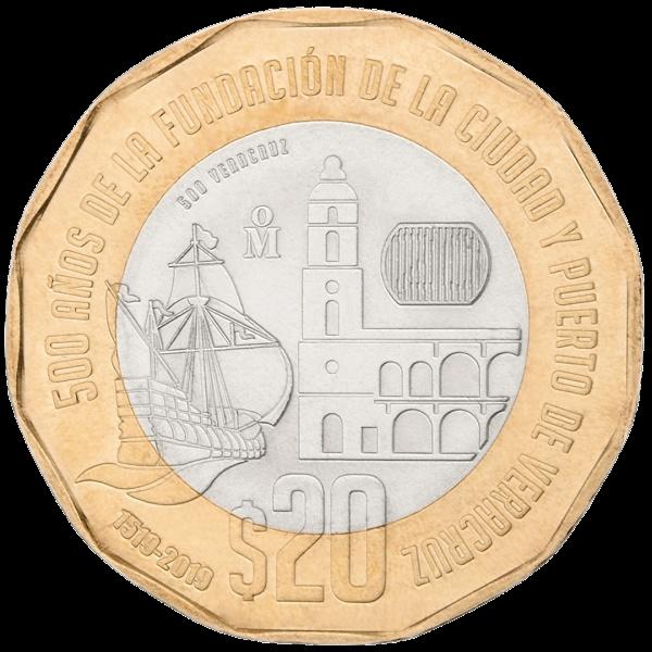 Мексика монета 20 песо 500 лет основания города Веракрус, реверс