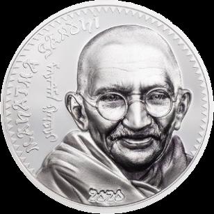Монголия монета 1000 тугриков Махатма Ганди, серебро, реверс
