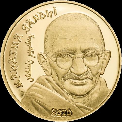 Монголия монета 1000 тугриков Махатма Ганди, золото, реверс