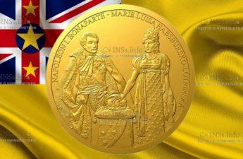 Ниуэ монета 100 долларов Наполеон Бонапарт и Мария Луиза