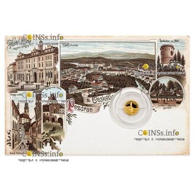 Ниуэ монета 5 долларов Чески-Крумлов, подарочная упаковка