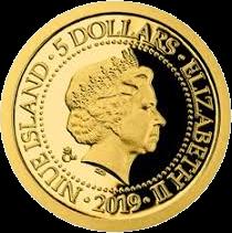 Ниуэ монета 5 долларов серии Старые виды на открытках, золото, аверс, 2019