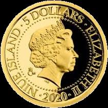 Ниуэ монета 5 долларов серии Старые виды на открытках, золото, аверс, 2020
