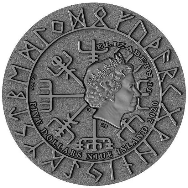 Остров-государство Ниуэ монета 5 долларов Викинги, аверс