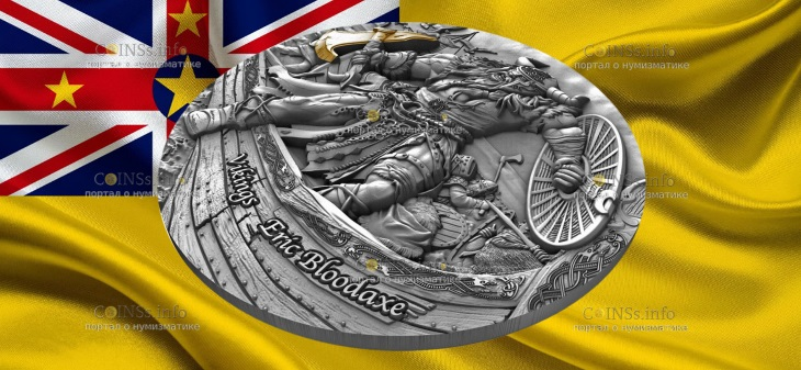 Остров-государство Ниуэ монета 5 долларов Викинги