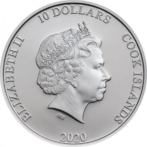 Острова Кука монета 10 долларов 2020, аверс