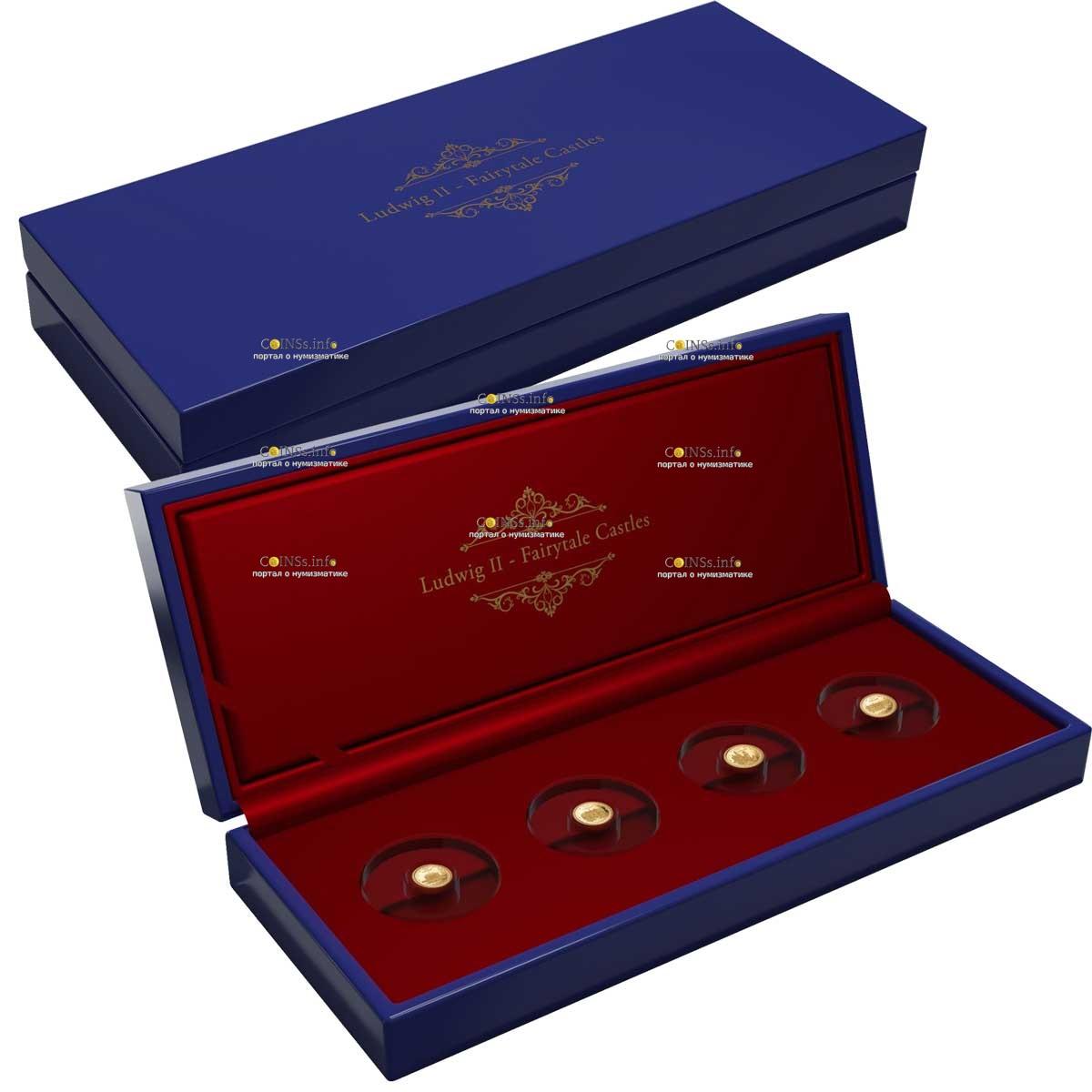 Соломоновы острова монеты серии Архитектурное наследие Короля Баварии Людвига II, подарочная упаковка