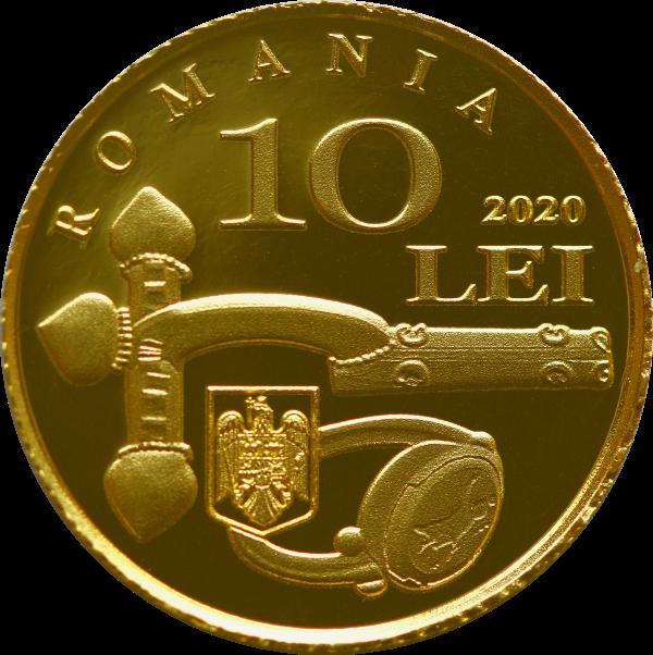 Румыния монета 10 леев Ювелирные изделия найденные в Карсиуме, аверс