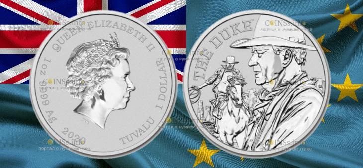Тувалу монета 1 доллар Джон Уэйн