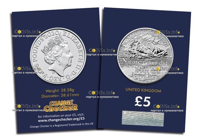 Великобритания монета Уильяма Вордсворта подарочная упаковка