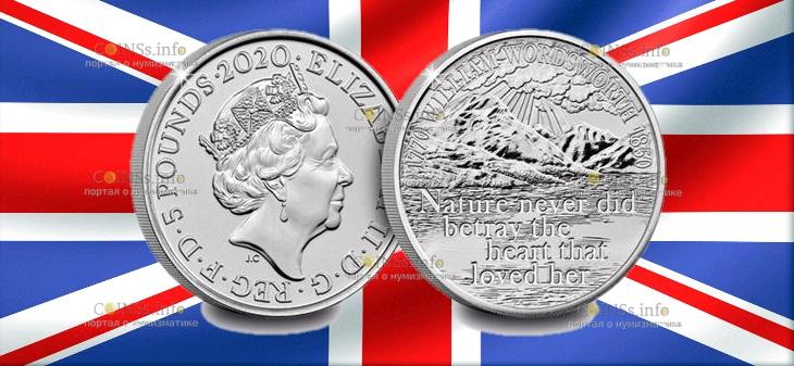 Великобритания монета Уильяма Вордсворта