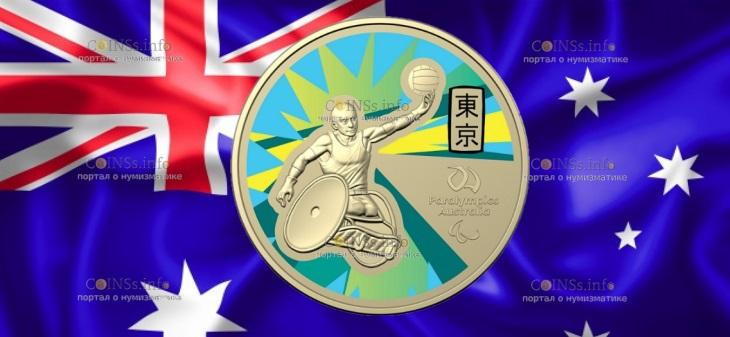 Австралия монета 1 доллар Паралимпийские игры в Токио-2020
