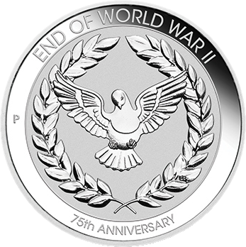 Австралия монета 10 центов 75 лет окончания Второй Мировой войны, реверс