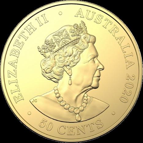 Австралия монета 50 центов, латунь, 2020, аверс