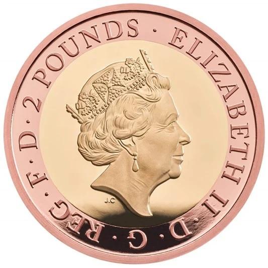 Британия монета 2 фунта, золото, аверс