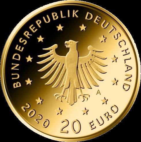 Германия монета 20 евро Белый Аист, аверс