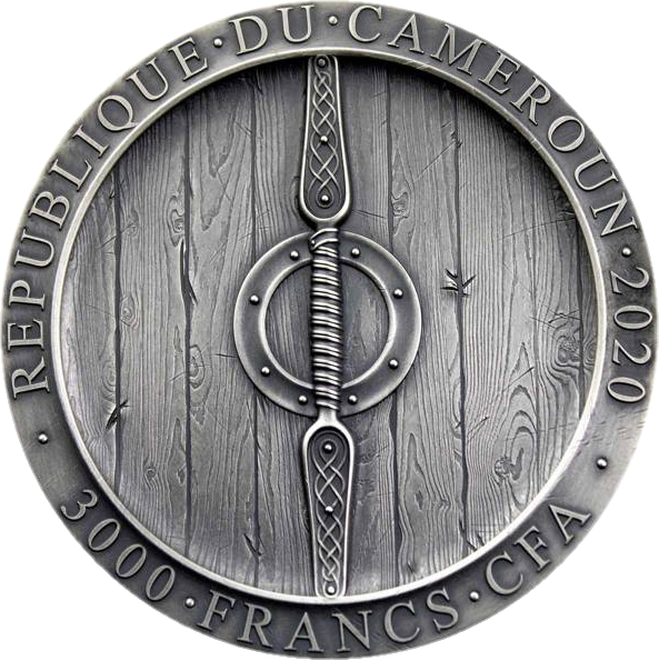 Камерун монета 3000 франков Викинг Аксеман, аверс
