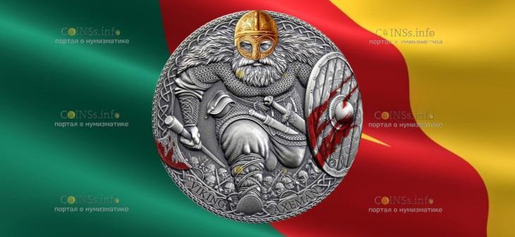 Камерун монета 3000 франков Викинг Аксеман