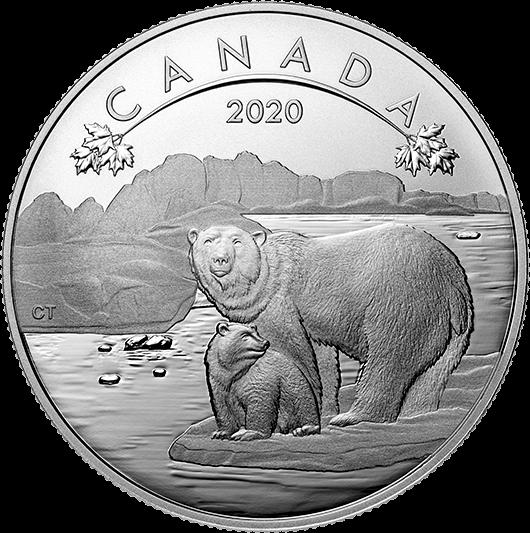 Канада монета 10 долларов Белый Медведь, реверс