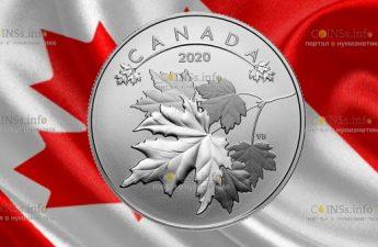Канада монета 10 долларов Кленовые листья