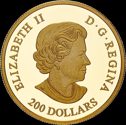 Канада монета 200 долларов Королевская роза, аверс