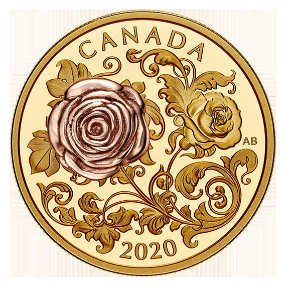 Канада монета 200 долларов Королевская роза, реверс
