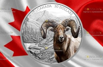 Канада монета 30 долларов Толсторог