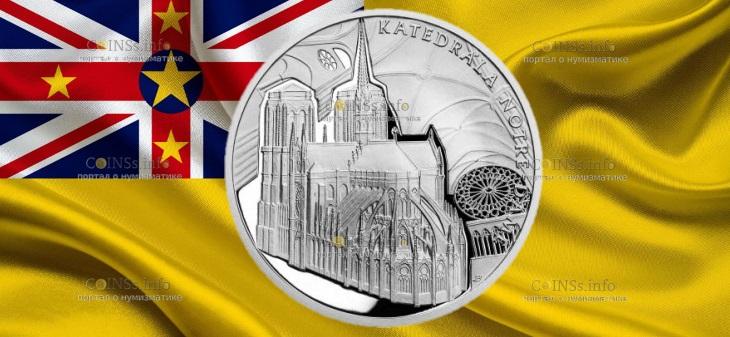 Ниуэ монета 1 доллар Кафедральный собор Нотр-Дам