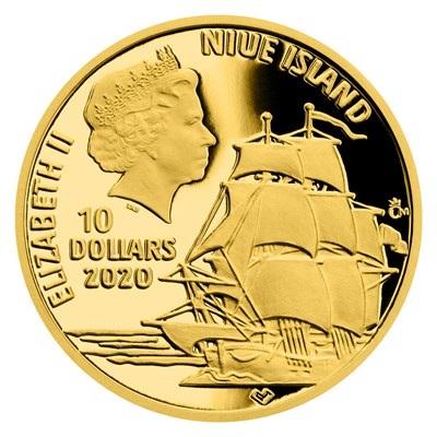 Ниуэ монета 10 долларов 2020 среия По Волнам, аверс
