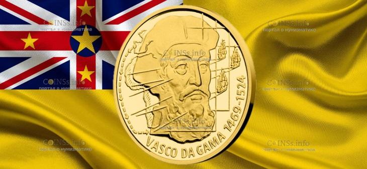 Ниуэ монета 10 долларов Васко да Гама