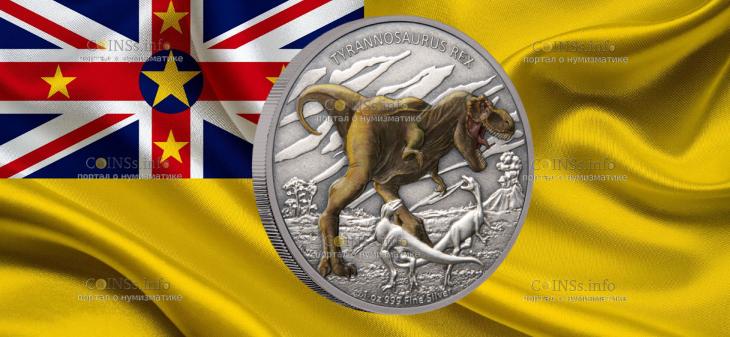 Ниуэ монета 2 доллара Тираннозавр