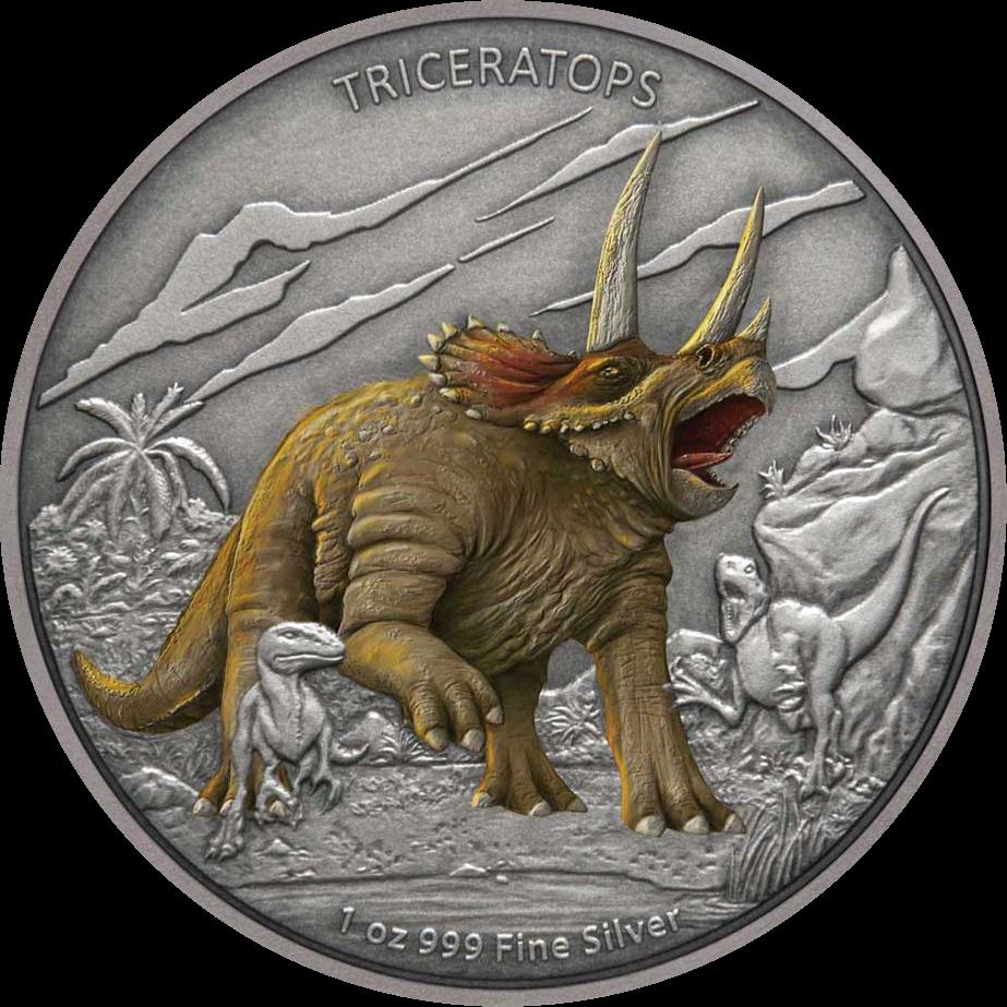 Ниуэ монета 2 доллара Трицератопс, реверс