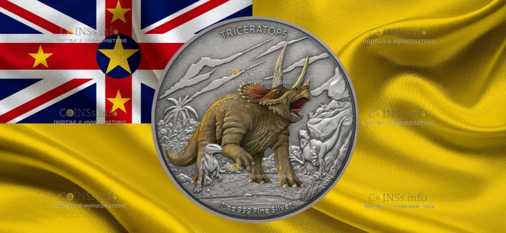 Ниуэ монета 2 доллара Трицератопс