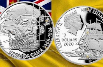 Ниуэ монета 2 доллара Васко да Гама