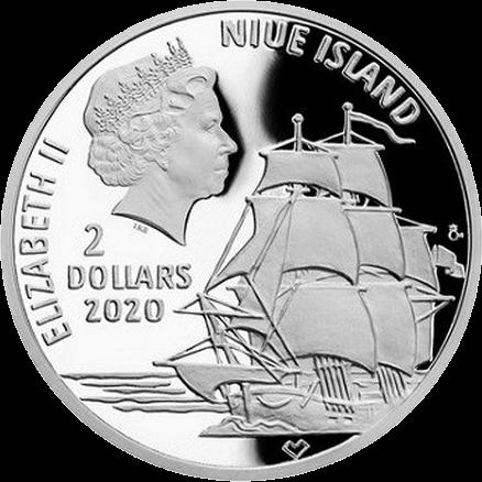 Ниуэ монета 2 доллара Васко да Гама, аверс